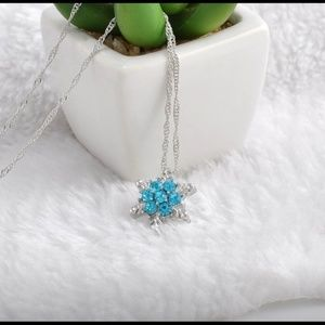 Blue Crystal Snowflake Frozen Silver Necklace
